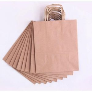 Design Photo Printed Custom Paper Bag for business branding Kuwait Brown
