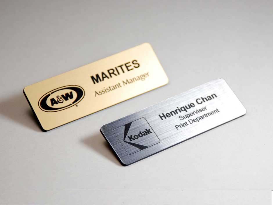 Buy Metal Name Tags Online With A Logo And Text Engraved On It