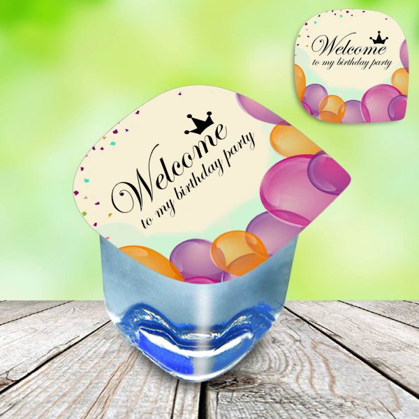 photo water cups labels birthday